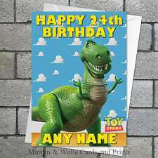 Toy Story birthday card: Rex. 5x7 inches. Personalised + envelope. Tyrannosaurus