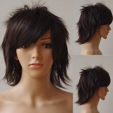 Women Men New Fashion Cosplay Short Full Wig White Blue Green Anime Party Wigs h