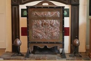 Arts Crafts Wrought Iron John Williams Copper Fire Screen and Dogs Circa 1892