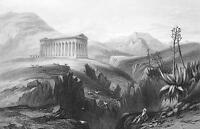 ITALY Greek Temple at Segesta - Original Print Steel Engraving