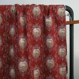 Set of 2 Brick Red Cameo Toile Garden French Country Curtain Panels