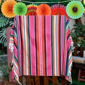 Handwoven Mexican Serape Blanket Fringe Runner Beach Rug Yoga Throw Table Cloth