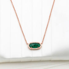 Authentic Kendra Scott Elisa Rose Gold Pendant Necklace In Emerald Cats Eye