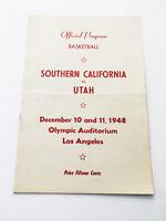 Authentic Vintage 1948 USC Utah Varsity Official Basketball Program Score Card