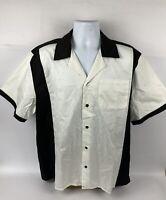 Men's Hilton Retro Short Sleeve Button Up Bowling Shirt Black/White Size Large
