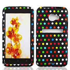 For HTC EVO 4G LTE Rubberized HARD Protector Case Snap Phone Cover Rainbow Dots