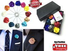 Fashion Mens Suit Lapel Pin Set Handmade Flower Boutonniere Brooch Gift 12 box