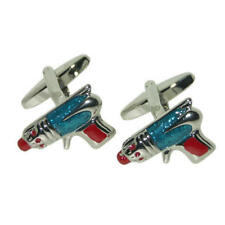 Blue, Silver & Red Sci-Fi Ray Gun Cufflinks With Gift Pouch Science Fiction
