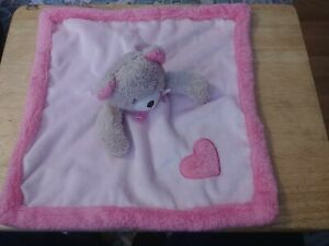 Blankets & Beyond Pink Teddy Bear Heart Baby Security Blanket Tan Lovey