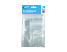 50 Resealable Plastic Grip Bags- Assorted size Packaging Clear Polythene Bag
