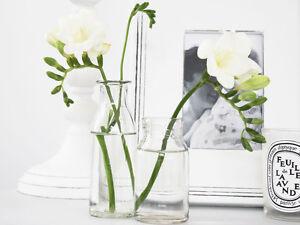 ANTIQUE VINTAGE FRENCH CLEAR GLASS MILK BOTTLE BUD VASE SCANDI  DECOR  WEDDING