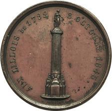 France 1845 Bronze Homage Medal for Inhabitants of Lille