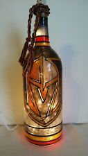 Golden Knights Inspired Bottle Lamp handpainted lighted stained glass look