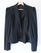 Cue In The City Size 10 Grey Collared Pleat Shoulder Peplum Jacket Career Blazer