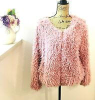 Candies Women's Shaggy Jacket Coat Size L/XL Pink Full Zipper Fake Fur Pockets