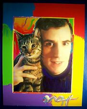 Original Signed Peter Max Painting A Man's Other Best Friend Cat Kitty Unique
