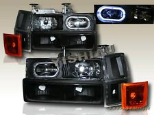 94-98 CHEVY FULL SIZE C/K SUBURBAN TAHOE HEADLIGHTS HALO BLACK 10 PCS