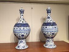 Paire de pots pourris chinois porcelaine blanc bleu début 20ème