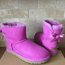 UGG MINI BAILEY BOW II BODACIOUS PINK WATER-RESISTANT SUEDE BOOTS SIZE 9 WOMENS