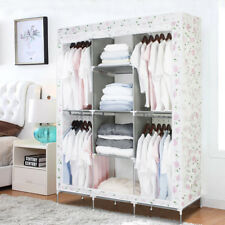 TRIPLE FABRIC CANVAS CLOTHES STORAGE HANGING RAIL WARDROBE CUPBOARD SHELVES UK A