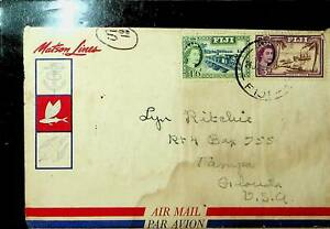 FIJI 1950'S 2v QE RAILWAY, SHIP ON AIRMAIL COVER TO TAMPA FLORIDA IN USA