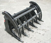 "Bobcat Skid Steer 66"" Root Rake Grapple Bucket Attachment with Teeth - Free Ship"