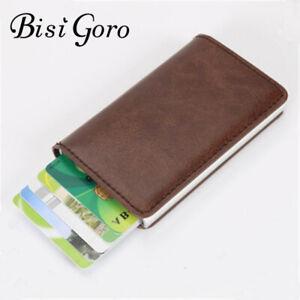 BISI GORO Vintage Mini Brown Leather Bank Card Holder Wellet Gifts For Men Women