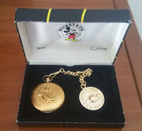 Vintage Disney Mickey Mouse Railroad Pocket Watch With Chain Colibri NOS