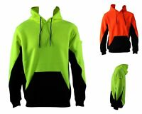 Hi Vis Fleecy Fleece Hoodie Pullover w Kangaroo Pockets & Arm Pen & Phone Pocket