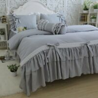 Luxury Korean Cotton Bedding Set Leaf Embroidered Lace Set Bowknot Quilt Cover