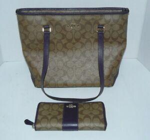 Coach Signature Purse/Bag & Matching Wallet Brown/Purple