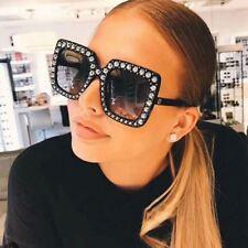 NEW Black Oversize Square Frame Bling Rhinestone Sunglasses Women Fashion Shades