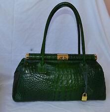 borsa Mano e spalla Vera Pelle verde bag bags leathear coccodrillo usata nuova