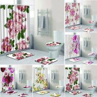 4PCS Sea Style Non Slip Toilet Polyester Cover Mat Bathroom Shower Curtain GK