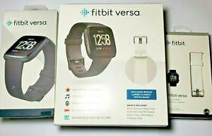 Fitbit Versa Includes Bonus Large Classic White Band, FB504GMBK, FB166ABWTL