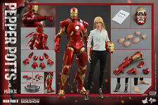 HOT TOYS IRON MAN 3 PEPPER POTTS AND MARK 9 IX 1:6 FIGURE SET ~Sealed Brown Box~