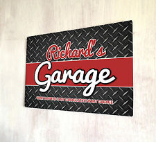Personalised Garage Sign A4 metal plaque Shabby chic Gift Idea