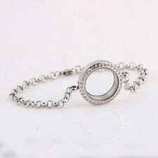 Lovely Silver Magnetic Crystal Living Memory Locket Bracelet Floating Charm 1PC