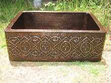 *Hammered Copper Kitchen Sink 33x22x10 16 Gauge  Free shipping  Mexican !!