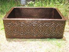 Copper Sink Fleur de Lis Design 33x22x10 16 Gauge