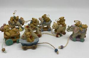 7 Cherished Teddie Antique Pull Toy Ornament Set Lot Priscilla Hillman Enesco