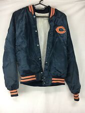 4059ce8b37acc8 Vtg Chicago Bears Satin Starter Button Up Jacket Orange Navy Blue Football  Small