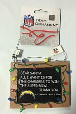 San Diego Chargers Chirstmas Tree Ornament Chalkboard  All I want is a Superbowl