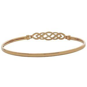 9ct Yellow Gold Celtic Ladies Girls Women Bracelet Designer Italian Bangle