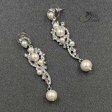 Clear Crystal White Pearl Wedding Chandelier Drop Dangle Earrings Silver tone 53