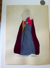 1924 Original Painting 14th Century French Ladys Fashion Dress