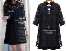 Sexy Black Embroidery Lace Mini Dress & Petticoat 2 Pcs Long Top AU SELLER dr127
