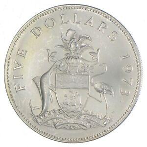 SILVER - WORLD Coin - 1973 Bahama Islands 5 Dollars - World Silver Coin *822