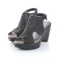 JBU Jambu Black Leather Cut Out Slingback Sandals Wedge Heels Womens 7.5 M