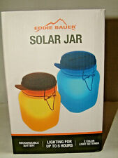 #4997 Eddie Bauer Solar Jar Light 2 Color Settings Rechargable Battery Up To 5H